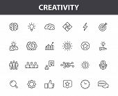 Set Of 24 Creativity And Idea Web Icons In Line Style. Creativity, Finding Solution, Brainstorming,  poster
