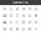 Set Of 24 Contact Us Web Icons In Line Style. Web And Mobile Icon. Chat, Support, Message, Phone. Ve poster