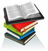 Pila de libro y Tablet Pc