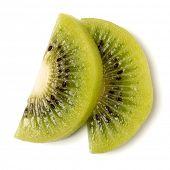 Two peeled kiwi fruit slices isolated on white background closeup. Half of kiwi slice. Kiwifruit sli poster