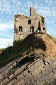 Ballybunion Castle Ruin On A Curvy Rock Face