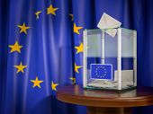 Ballot box with European Union EU flag. 3d illustration poster