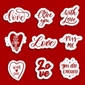Hand  Lettering Red  Patches And Stickers - Creative Set Incuding Inscriptions: Love, Love You, Kiss poster