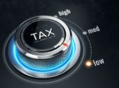 Low Tax level concept - Tax level control button on low position. 3d rendering poster