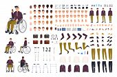 Teenage Boy With Physical Disability Creation Set Or Constructor Kit. Collection Of Disabled Man Bod poster