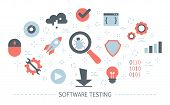 Testing Software Concept. Application Code Test Process poster