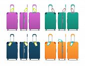 Colorful Set Of Modern Plastic Suitcases With Wheels, Retractable Handle And Luggage Tag Label On Su poster