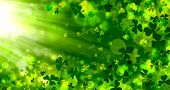 Green Background For St. Patricks Day, Spring Background, Bright, Bokeh, Shamrock, Rays, Light Effe poster