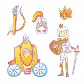 Medieval Cute Cartoon Princess Icon Set. Princess Girl Warrior, Helmet, Crown, Bougham And Bow With  poster