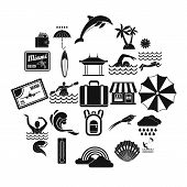Surfing Icons Set. Simple Set Of 25 Surfing Icons For Web Isolated On White Background poster