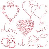 picture of drow  - funny hand drow vector valentine design elements - JPG