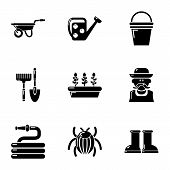 Large Garden Icons Set. Simple Set Of 9 Large Garden Icons For Web Isolated On White Background poster