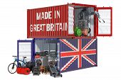 Production And Shipping Of Electronic And Appliances From Great Britain, 3d Rendering Isolated On Wh poster