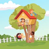 House On Tree. Cute Children Playing In Garden Nature Climbing Vector Kids Background. Illustration  poster