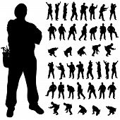 Worker Black Silhouette In Various Poses