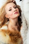 Sensuality Young Attractive Girl With Foxy Fur Jacket