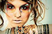Fashion Portrait Of Young Beautiful Woman With Stylish Makeup