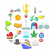 Voyage Icons Set. Cartoon Set Of 25 Voyage Vector Icons For Web Isolated On White Background poster