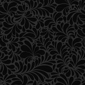 Black Paisley Or Damask Black Floral Seamless Pattern, Vector Ornament. Hand Drawn Seamless Pattern. poster