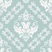 Classic Seamless Vector Pattern. Damask Orient Blue And White Ornament. Classic Vintage Background.  poster