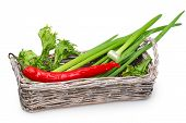 Old Wicker Basket With Green Onions, Fresh Lettuce And Pungent Red Pepper
