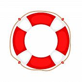 Lifebuoy On White. Life Preserver Rubber Safety Ring With Rope, Round Lifesaver Isolated, Protect Su poster