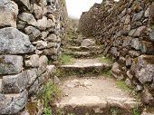 Inca trail between stone walls