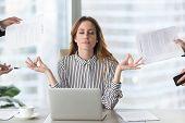 Calm Female Executive Meditating Taking Break Avoiding Stressful Job poster