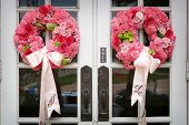 Wedding Flowers On The Front Door Of A Church