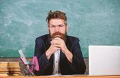 Teacher Concentrated Bearded Mature Schoolmaster Listening With Attention. Pay Attention To Details. poster