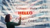 Woman Student Wearing Glasses Pointing Index Finger Up Choosing Word Hello With Different Translatio poster