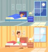 Vector Illustration Of Man Sleeping At Night And Waking Up Morning. Sleep In Comfy Bed Concept, Good poster