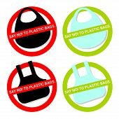 Say No To Plastic Bag. Icon Set. Disposable Cellophane And Polythene Package Prohibition Sign. Pollu poster