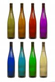 Bottle of Wine in Various Colors Isolated on a White Background