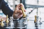 Businessman Playing Chess Game Reaching To Plan Strategy For Success, Thinking For Planning Overcomi poster