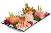 Set of Sashimi on Daikon with Seaweed, Cucumber