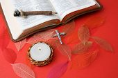 pic of bible verses  - Leather bound bible opened at a piece of scripture - JPG