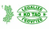 Vector Cannabis Ko Tao Map Mosaic And Grunge Textured Legalize Stamp Seal. Concept With Green Weed L poster