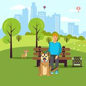 Dog Lover Walk In Park Vector Flat Illustration. Cartoon Character Pet Owner And Dogs In Garden. Ani poster