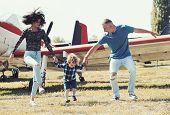 Lets Start Our Journey. Travelling By Air. Family On Vacation Trip. Couple With Boy Child At Plane.  poster
