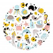 Vector Illustration Made Roud Shape, Sea Animal, Underwater World And Wildlife, Ocean Concept, Cute  poster