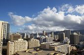 Clouds Covering Buildings In Downtown Waikiki