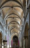 Lausanne Cathedral Interior From The Entrance