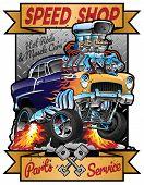 Speed Shop Hot Rod Muscle Car Parts And Service Vintage Garage Sign Vector Illustration poster