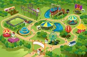 stock photo of funfair  - A vector illustration of a map of an amusement park - JPG