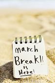 closeup of a notepad with the text march break is here written in it, on the sand of a quiet beach,  poster