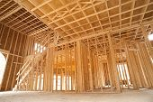 stock photo of 2x4  - Interior framing of a new house under construction - JPG