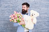 Thank You. Spring Gift. Bearded Man Hipster With Spring Flowers. Bearded Man With Tulip Bouquet And  poster