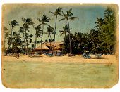 Rest On The Beach, Lounge Chairs, Palm Trees A Stylized Retro Card.