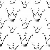 Cute Cartoon Princess Pattern With Hand Drawn Crowns. Sweet Vector Black And White Princess Pattern. poster